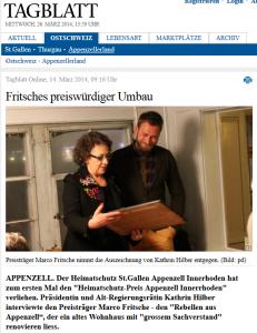 Heimatschutz in der Appenzeller Zeitung_Mrz 2014